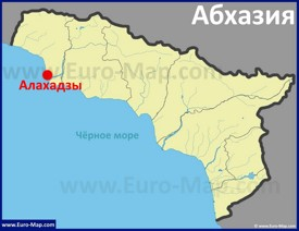 Алахадзы на карте Абхазии