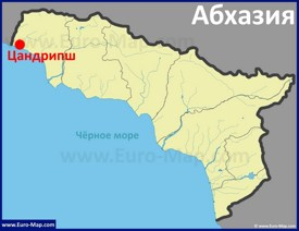 Цандрипш на карте Абхазии