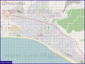 Подробная карта поселка Цандрипш с улицами и домами