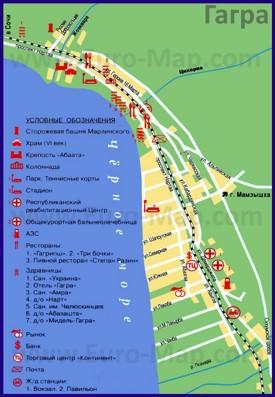 Туристическая карта Гагры с отелями и санаториями