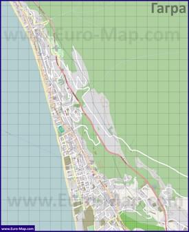 Подробная карта города Гагра с улицами и домами