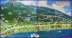 Туристическая карта Гагры с достопримечательностями
