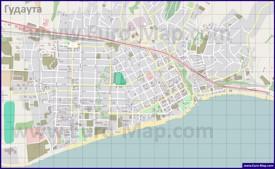 Подробная карта города Гудаута с улицами и домами