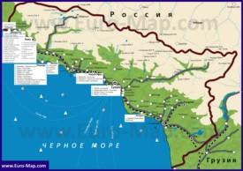 Карта Абхазии с гостиницами, санаториями, отелями и базами отдыха