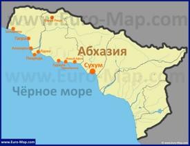 Карта Абхазии с курортами