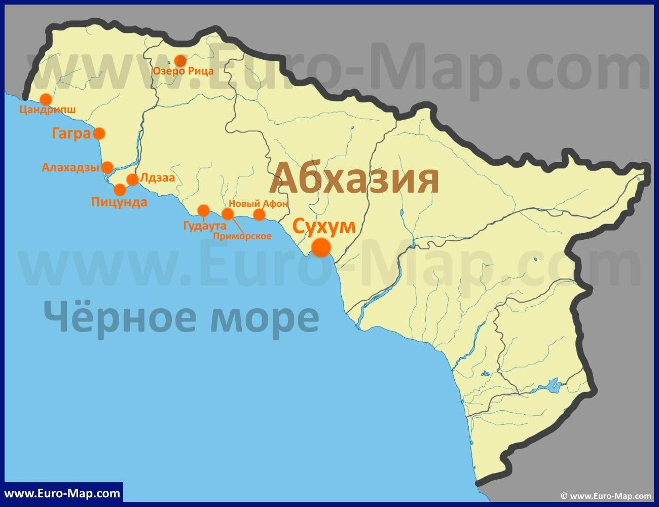 Абхазия на карте столица