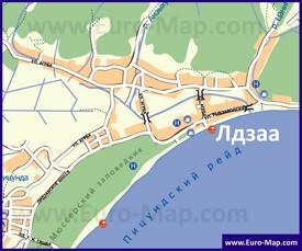 Туристическая карта Лдзаа с пляжами и гостиницами