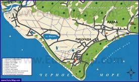 Туристическая карта Пицунды и Лдзаа
