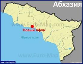 Новый Афон на карте Абхазии