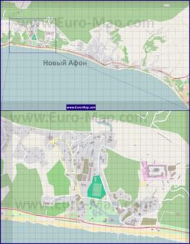 Подробная карта города Новый Афон с улицами и домами