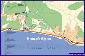 Туристическая карта Нового Афона с пляжами и гостиницами