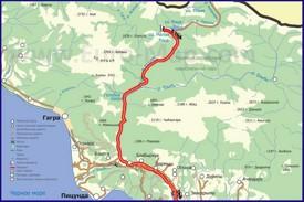 Карта дороги на озеро Рица