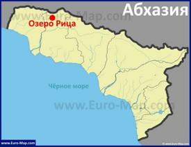 Озеро Рица на карте Абхазии