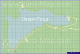 Подробная карта озера Рица