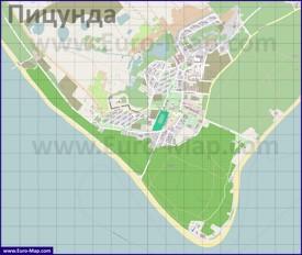 Подробная карта города Пицунда с улицами и домами