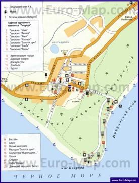 Туристическая карта Пицунды с отелями и пансионатами