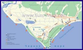 Туристическая карта Пицунды с пляжами и гостиницами