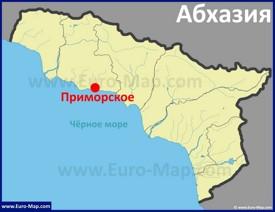 Село Приморское на карте Абхазии