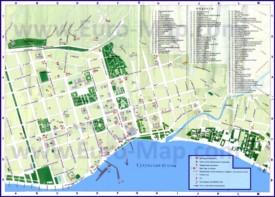 Карта Сухума с достопримечательностями, кафе и барами