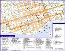 Карта Сухума с магазинами, кафе и ресторанами
