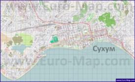 Подробная карта города Сухум с улицами и домами