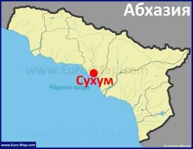 Сухум на карте Абхазии