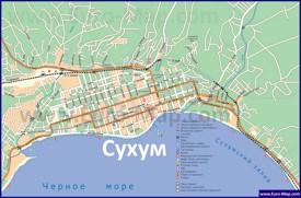 Туристическая карта Сухума с пляжами и гостиницами