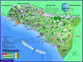 Туристическая карта Абхазии с достопримечательностями