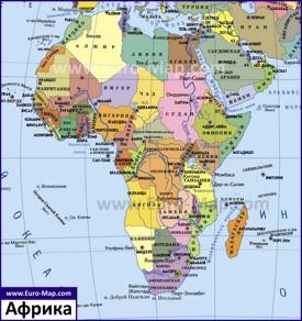 Карта Африки со странами и столицами