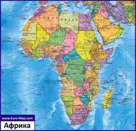 Политическая карта Африки на русском языке