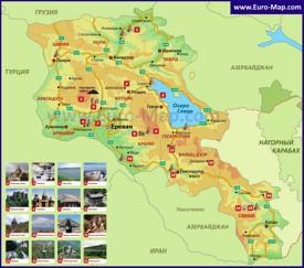 Достопримечательности Армении на карте
