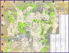 Карта Еревана с улицами и достопримечательностями на русском языке