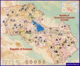 Туристическая карта Армении и Нагорного Карабаха