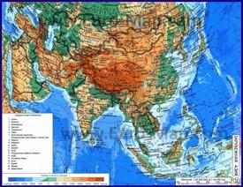 Физическая карта Азии