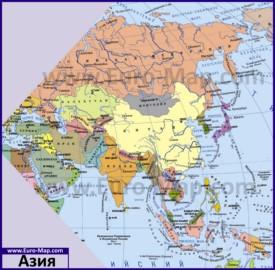 Карта Азии со странами и столицами