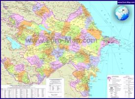 Подробная карта Азербайджана с городами