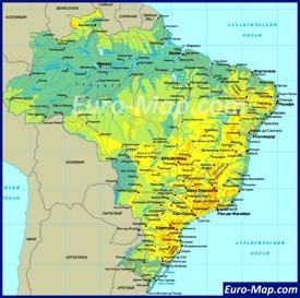 Карта Бразилии на русском языке с городами