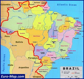 Карта Бразилии со штатами