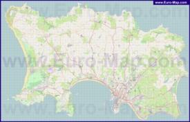 Подробная карта острова Джерси