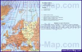 Карта часовых поясов Европы