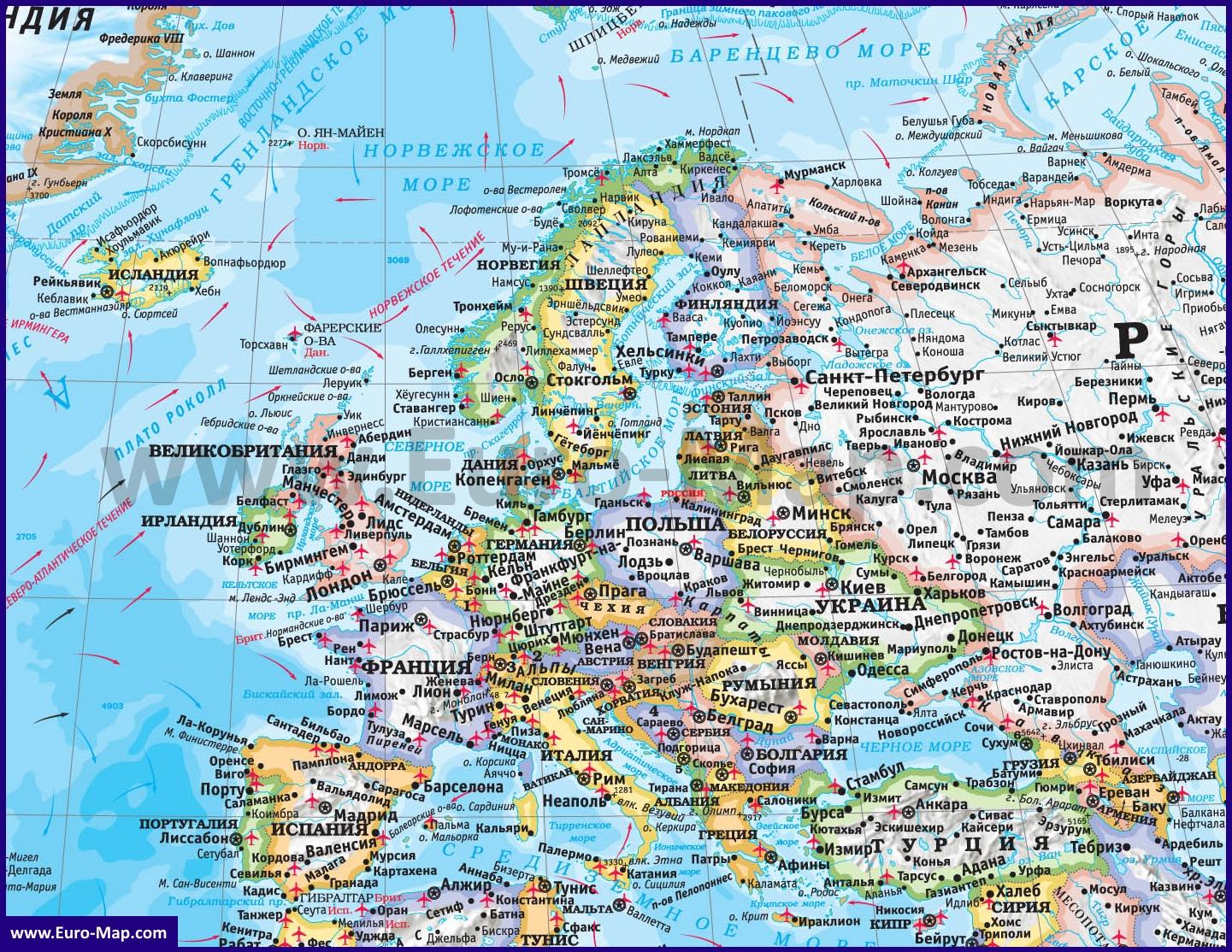 Karta Evropy Podrobnaya Karta Evropy Na Russkom Yazyke