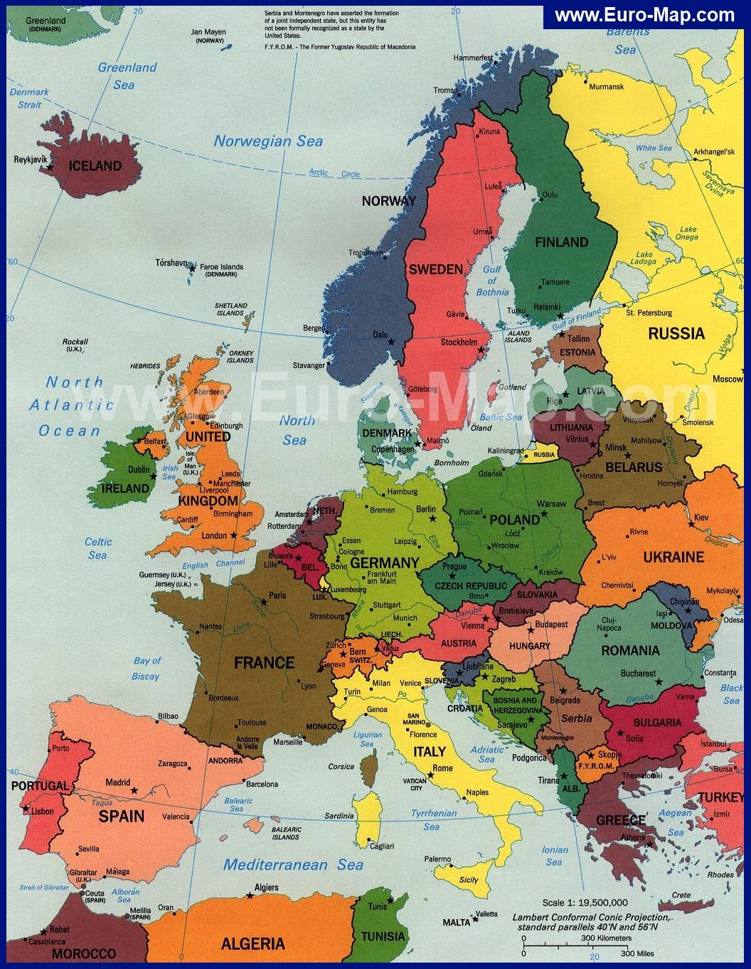 Карта европы со странами и столицами