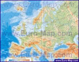 Подробная физическая карта Европы на русском языке