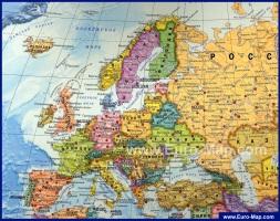 Подробная карта Европы на русском языке с городами