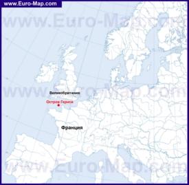 Гернси на карте Европы
