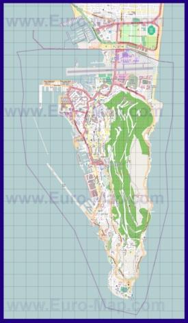 Подробная карта Гибралтара
