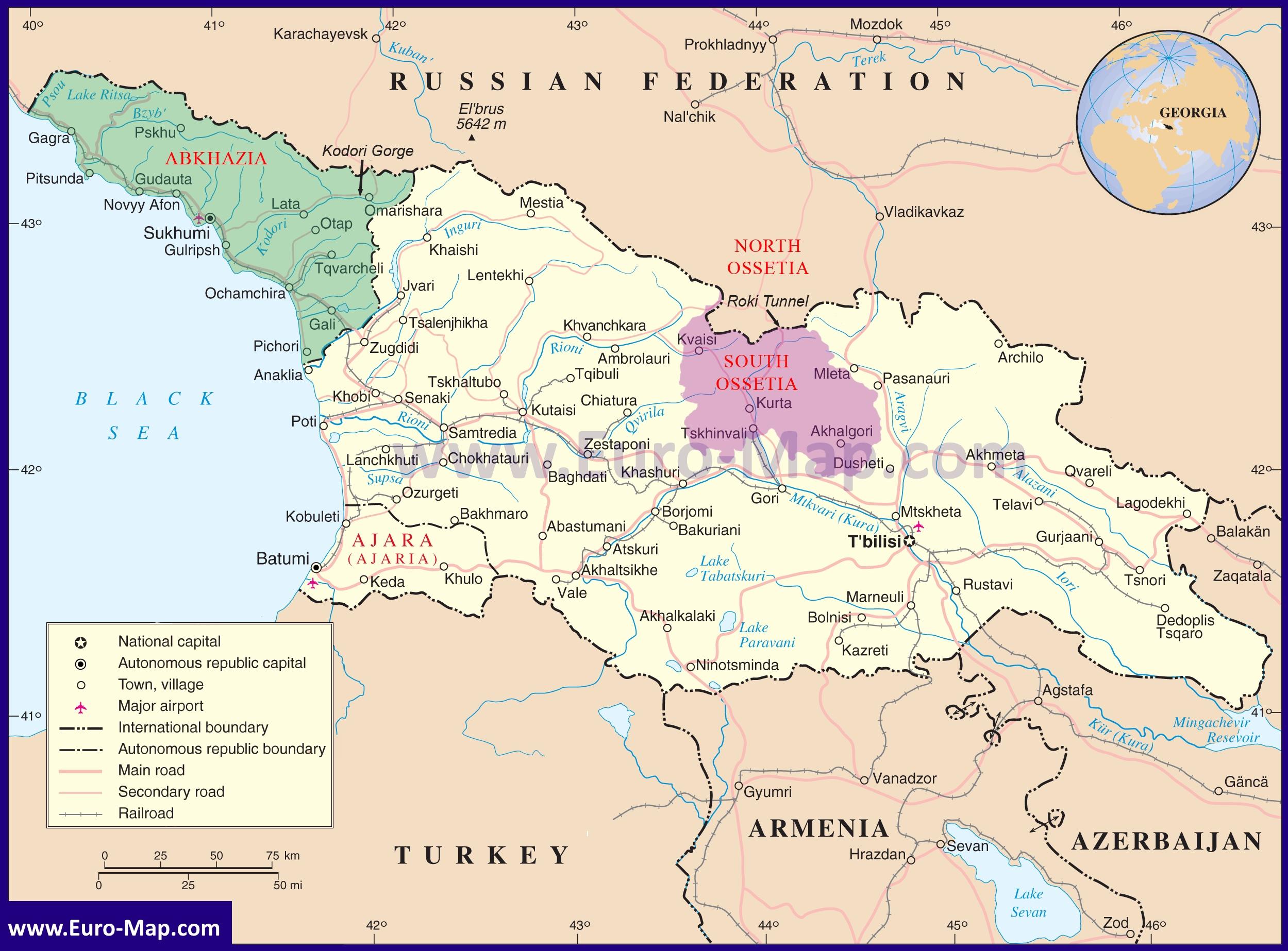 Karta Gruzii Podrobnaya Karta Gruzii Na Russkom Yazyke S Gorodami