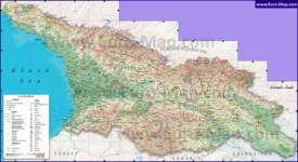 Подробная карта Грузии с городами