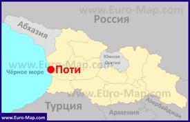 Поти на карте Грузии