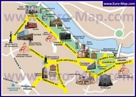 Карта центра Тбилиси с достопримечательностями